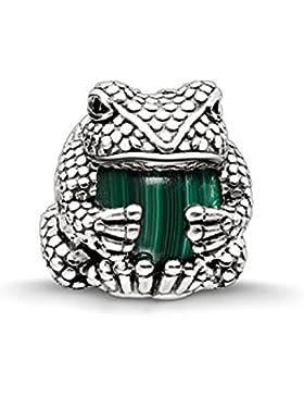 Thomas Sabo Damen-Bead Frosch Karma Beads 925 Sterling Silber geschwärzt Zirkonia schwarz imitierter Malachit...
