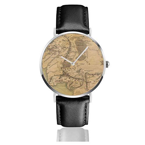 Lord of The Ring (Map) Reloj clásico Casual de Cuarzo, Correa de Cuero y Acero Inoxidable 3