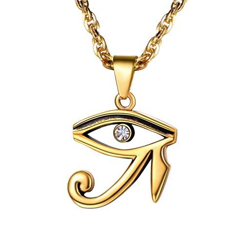 PROSTEEL Collar Ojo de Horus Acero Inoxidable Chapado en Oro/Negro con Cadena Eslabones 60cm Ajustable con Caja de Regalo