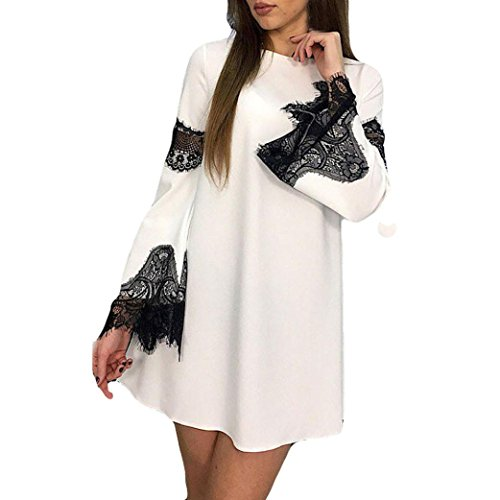 Kleid damen Kolylong® Frauen Elegant Langarm Kleid mit Spitze Vintage A-Linie Spitzenkleid Kurz Minikleid Cocktail Partykleid Bluse Sweatshirt Tops (Weiß, S) (Eine Linie Der Arbeit Kleider Für Frauen)
