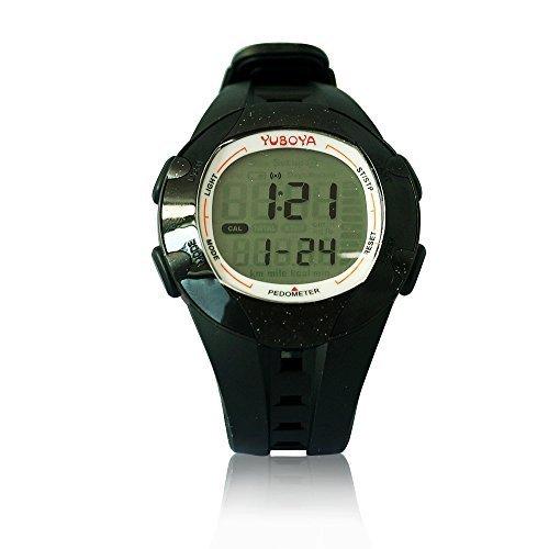 Yuboya Montre Digitale Sports( 6 Mode---- Podomètre mode, Chronomètre, Date &Heure Mode, modede Données Accumuler, mode Alarme;Modede mémoire de données Pour Hommes et Femme(Noir)