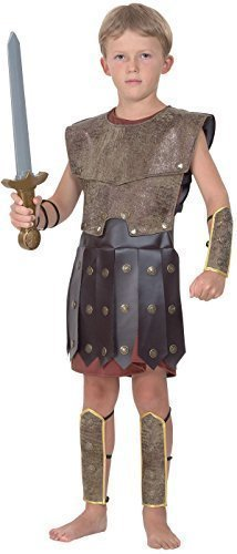Jungen Kinder Historisch Römischer Gladiator Warrior Kostüm Kleid Outfit - Braun, Braun, 7-9 Jahre (Kostüme Gladiator Für Jungen)