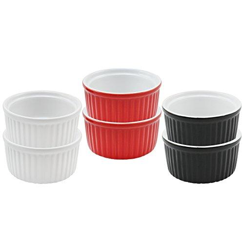 COM-FOUR Lot de 6 ramequins à crème brûlée, dont 2 x noir, 2 x blanc , 2 x rouge