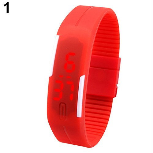 K3 Fashion Ultra Thin Led Watch Unisex Digital Sports Watch For Men Women Kids_Red
