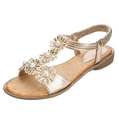 LXJL Damen Sandalen Süß und lieblich Sun Flower Pearl Point Diamond Damen Sandalen Casual Komfort T-förmige Flache Sandalen,Gold,42