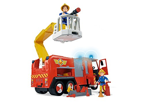 - 41CwTwJES4L - Simba 109257661 – Feuerwehrmann Sam Jupiter Feuerwehrauto mit 2 Figuren, 28 cm
