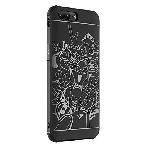 Tianqin OnePlus 5 Funda TPU Suave Cubierta del OnePlus 5 [Choque][Thin][Impedir la Caída][Prevent Rascarse][Patrón Xianglong] Adecuado Para OnePlus 5 Caso - Negro