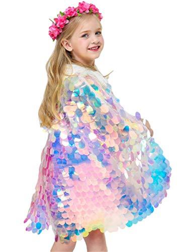 LCXYYY Kinder Mädchen Meerjungfrau Kostüm Prinzessin Cape Umhang Mantel Bikini Cover Up Strand Verkleiden Kostüme Zubehör Glänzend Pailletten Mehrfarbig Glitzer Bunte Sequin Sommer Halloween Cosplay (Strand Mädchen Kostüm)