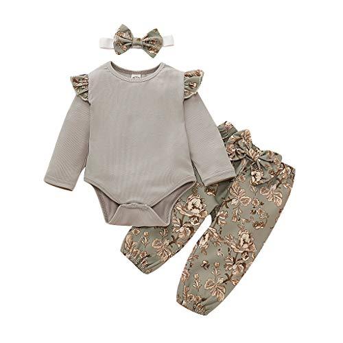 Miss Fortan Mädchen Baby Body Strampler Outfit Set, Blumenschmuck Stil Rüschen solide Baby Langarm Body Strampler Outfit (Grau, 90)