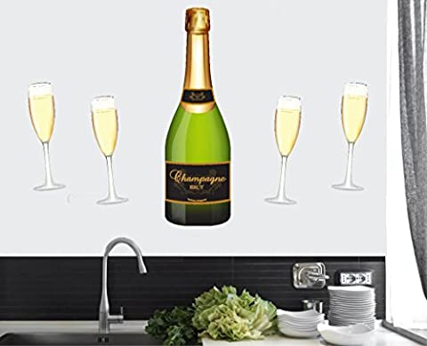 Champagne Bottle and Flute Glasses - Wall Art Vinyl Stickers - 80cm x 56cm - EASY PEEL & STICK