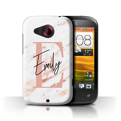 eSwish Personalisiert Individuell Marmor Initialen Handschrift Hülle für HTC Desire C/Roségold Rosa Buchstabe Design/Initiale/Name/Text Schutzhülle/Case/Etui (Buchstabe C Stuff)