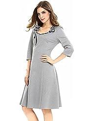 Gaoxu Women 's Fashion Dress, Europa y América moda collar, pequeño vestido, otoño, cintura, coreano, vestido de noche, Rusty vestido, vestido,Gray,XXL.