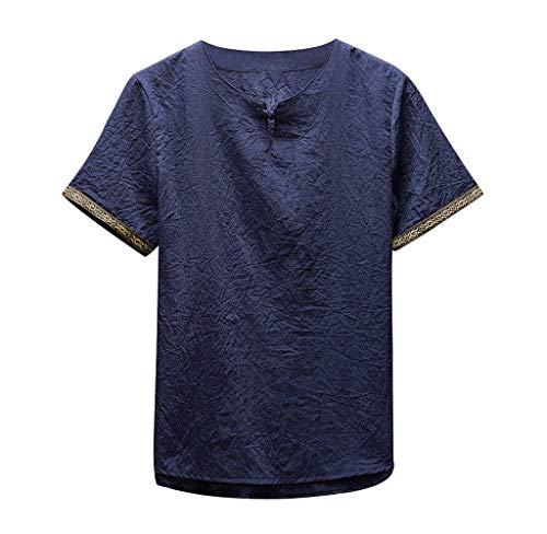 Luckycat Männer Klassisches BluHerrenkung Fu Hemd Tops Tang Kurzarm Leinen Bluse Mode 2018