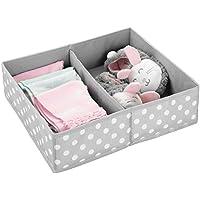 mDesign Caja de almacenaje para habitaciones infantiles o baños – Cestas organizadoras en fibra sintética de lunares – Organizadores de armarios con 2 compartimentos – gris claro/blanco