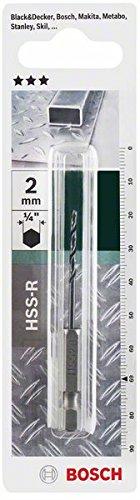 Bosch Metallbohrer HSS-R rollgewalzt mit 1/4 Zoll-Sechskantschaft (Ø 2 mm)
