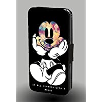 It All Started With Mickey Mouse Dream Disney Princesses Faux Leather Phone Case for iPhone 8 Plus