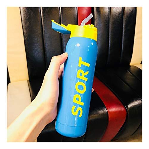 umsauger Mit Stroh, Erwachsene Kinder Wasser Schale Creative Portable Sports Cup, Blau 500 Ml ()