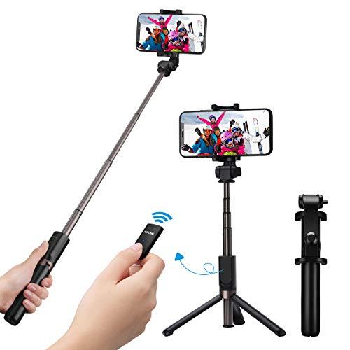 Black-Fast VersionMpow Bluetooth Selfie Stick Stativ,Selfie-Stangen Handy Stativ mit Bluetooth Fernauslöser für iPhone Galaxy&alle 3.5-6 Zoll Bildschirm Smartphones,Erweiterbar Monopod 360° Rotation