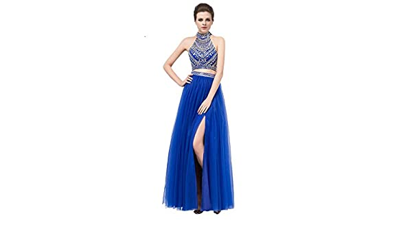 Gorgeous Two Piece High Neck Long Royal Blue Prom Dress Open Back with Beading Split Royal Blue-UK26: Amazon.co.uk: Clothing