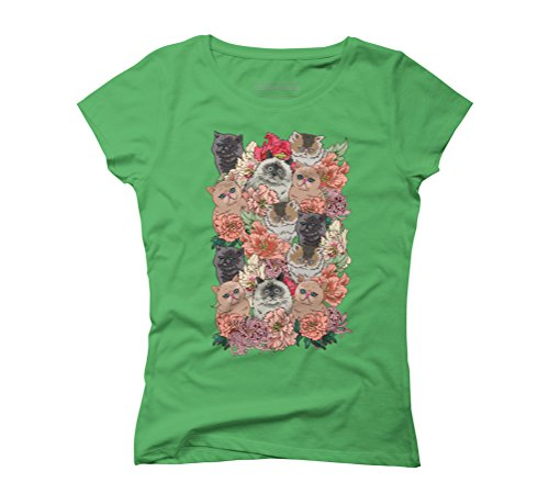 BECAUSE CATS Women's Graphic T-Shirt - Design By Humans Green