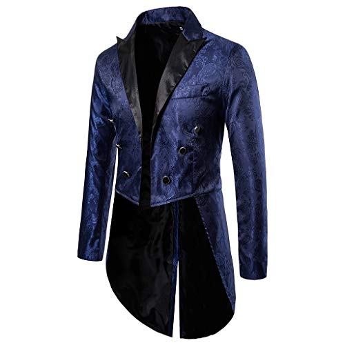 YBWZH Blazer Anzugjacke Herren Paillettenbesetzter Frackjacke Goth Steampunk Uniform Fit Strickjacke Anzug Party Wear Mantel Faschingskostüme Smoking Outwear Mantel