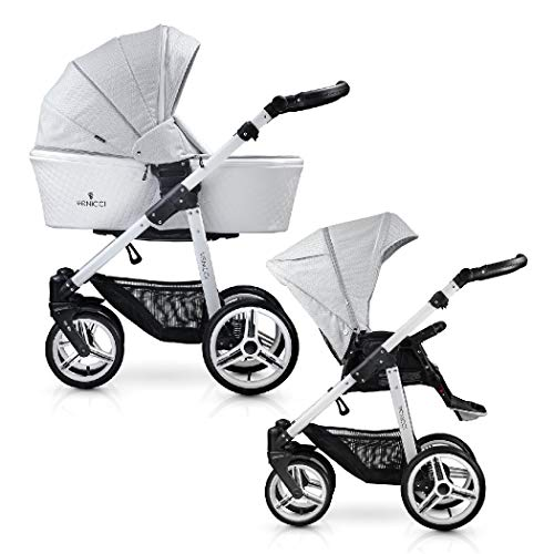 Venicci Pure 2-in-1 Travel System - Stone Grey - with Carrycot + Changing Bag + Apron + Raincover + Mosquito Net + 5-Point Harness and UV 50+ Fabric + Cup Holder