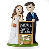 Mopec Figura Pastel Novios Pop&Fun con Cartel-Pizarra, 21 cm