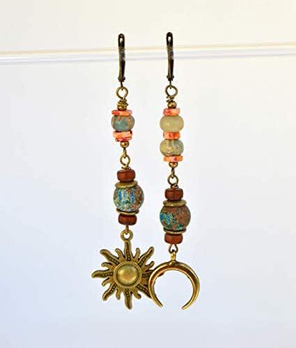 Lunghi orecchini sole e luna per le donne, regali unici fatti a mano