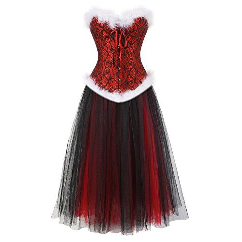 e Overbust Bustiers Halloween Röcke Weihnachten Korsett Kleid Set Top Rot Schwarz 6XL (6xl Halloween-kostüme)