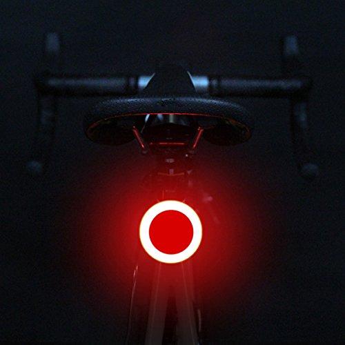 Fahrrad Rücklicht ESMK Fahrradlicht Led Rücklicht Ultra Hell COB Fahrradbeleuchtung Kreativen Designs in Dreieck oder Kreis Form und 3 Licht Modis. Super Hell und mit USB wiederaufladbar - Kreis