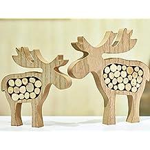 Valery Madelyn Holz Weihnachtsdekoration Rentier Weihnachtsdeko Figur  16/20cm 2er Set Hirsch Weihnachtsfigur Mit Holzscheiben