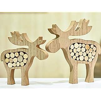 Valery Madelyn 2Pcs Adornos de Renos de Navidad de Madera, Decoraciones de Navidad de Estatuilla de Alce, Estatuas de Centro y Mesa (Bosque)