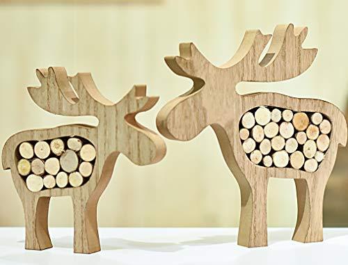 Valery Madelyn Holz Weihnachtsdekoration Rentier Weihnachtsdeko Figur 16/20cm 2er Set Hirsch Weihnachtsfigur mit Holzscheiben In den Wald Thema für Weihnachten MEHRWEG Verpackung