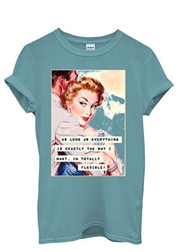 I am Flexible Retro Vintage Sign Funny Men Women Damen Herren Unisex Top T Shirt Licht Blau