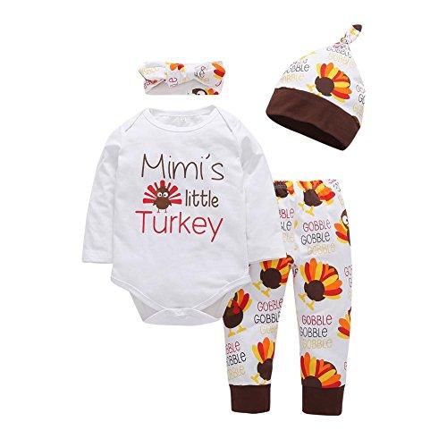 PanDaDa 4 PCs Säuglingsbaby Jungen Mädchen Türkei Druck Spielanzug + Hosen + Hut + Stirnband Outfit Sets