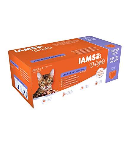 IAMS Delights Land & Sea Collection in Gelee - Ausgewogenes Nassfutter in verschiedenen Geschmackssorten für erwachsene Katzen ab 1 Jahr - 48 x 85g Frischebeutel