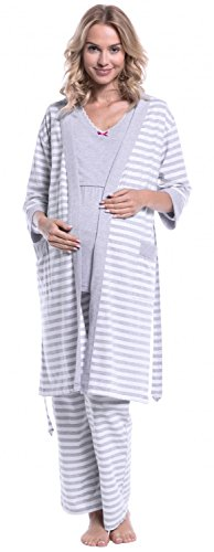 Happy Mama. Damen Umstandspyjama Stillfunktion. Stillschlafanzug 3/4-arm. 394p Morgenmantel - Hellgrau