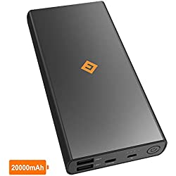 NOVOO Batterie Externe 20000mah Power Bank Portable 3 Sorties USB-C 3A USB-A 2.4A & 2.1A, Chargeur Haute Capacité pour iPhone XS XS Max XR X 8 Plus iPad Samsung Galaxy S9 S8 Huawei Mate 20Pro Android