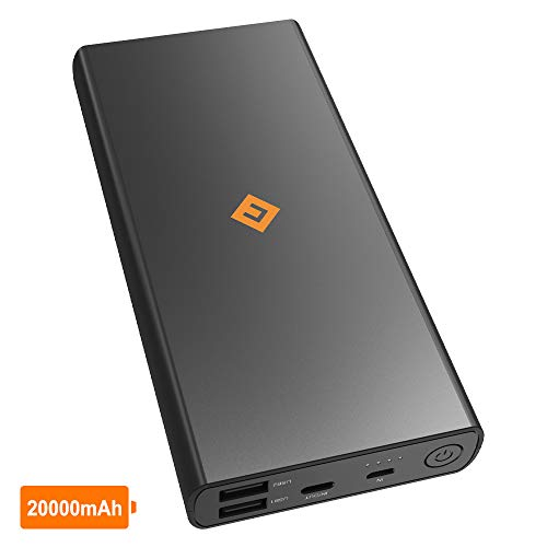 NOVOO 20000mAh Powerbank Externer Akku 3 Ausgänge 2 USB A mit Smart IC & 1 USB C 5V 3A für Handy iPhone 6 7 8 X Samsung Galaxy S7 S8 Huawei 20000 Kompakt Power Bank Tragbar Ladegerät 1 Gadget Bag