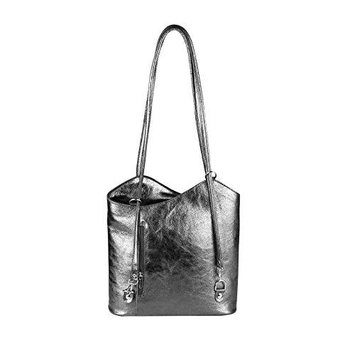 OBC Made in Italy Ledertasche Damentasche 2in1 Handtasche Rucksack Umhängetasche Schultertasche Tablet/Ipad mini bis ca. 10-12 Zoll 27x29x8 cm (BxHxT) (Schwarz) Dunkelgrau (Metallic)