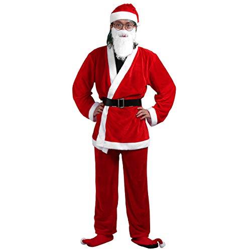 Samt Weihnachtsmann Anzug Erwachsene Für Kostüm - Freebily Herren/Damen Weihnachtsfeier Verkleidung SAMT Santa Claus Kleidung Weihnachtsmann Kostüm Mütze Bart Weihnachtskostüm Weihnachten Party Kleidung Set Rot Herren One Size