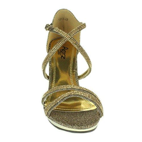Femmes Dames Diamante Plate-forme Cross Strap Svelte Talon haut Soir Fête Mariage Prom De mariée Stiletto Sandales Chaussures Taille Marron