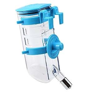 TOOGOO(R) Aucune goutte de chien Haut-Fill bouteille d'eau Buveur Pet Feeder Distributeur d'eau d'eau pour animaux de compagnie en acier inoxydable 350ml entree (bleu)