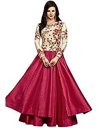 Kings Fashion Bazaar Women Banglory Silks Bollywood Designer Semi-Stitched Salwar Suit (GATMPU10683_Pink&Cream_Free...