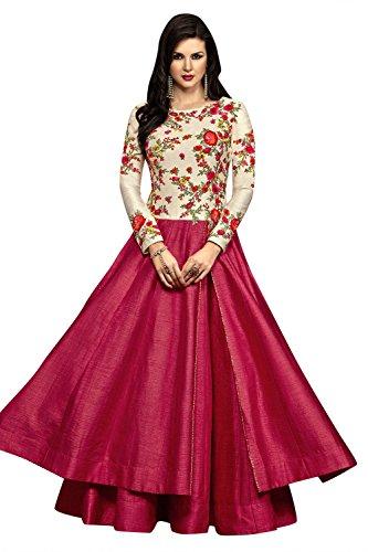 Aryan Fashion Women Banglory Silks Semi-Stitched Salwar Suit (FA-WRTY10683_Pink&Cream_Free Size)