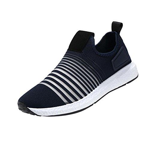Mode Mesh Sneaker Herren, DoraMe Männer Frühling Beiläufige Reiseschuhe Atmungsaktive Wohnungen Sportschuhe Streifen Slip-On Schuhe (EU:39/CN:40, Blau)