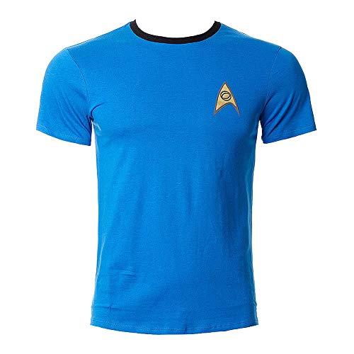 Star Trek Uniform Mr. Spock T-Shirt Raumschiff Welten der Galaxie Baumwolle blau Kostüm Oberteil bequemer Sitz - M (Kostüm Der Welt)