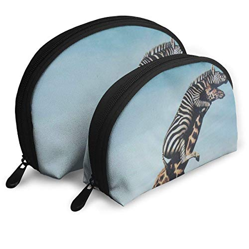 Tan Womens Oxford (Giraffe Zebra Animals Funny Graphics Womens Travel Makeup Bag Shell Cosmetic Bags - Pack of 2)