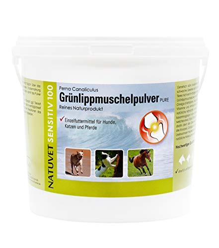 NatuVerde Grünlippmuschel-Pulver für Hunde, Katzen und Pferde, 1-kg-Dose mit Dosierlöffel. 100% reines Perna Canaliculus aus Neuseeland.