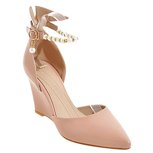 Mee Shoes Damen Keilabsatz ankle strap Schnalle Pumps Aprikose
